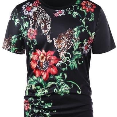 3b75b87e Jual 3D Floral Tiger Print T-shirt - Black - Impor_kita | Tokopedia