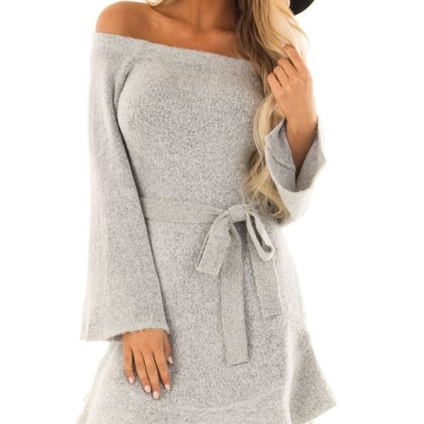 85cfb8e3762 Jual HEATHER GREY OFF THE SHOULDER SWEATER DRESS WITH TIE DETAIL ...