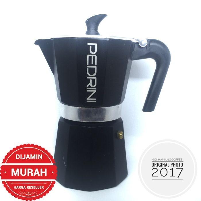Pedrini Aroma Enamel Coffee Teko Kopi Moka Pot Alumunium 6 Cup Black