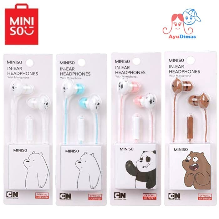 048e479a968 Miniso We Bare Bears - Earphone / Headset / Headphone With Microphone -  Putih