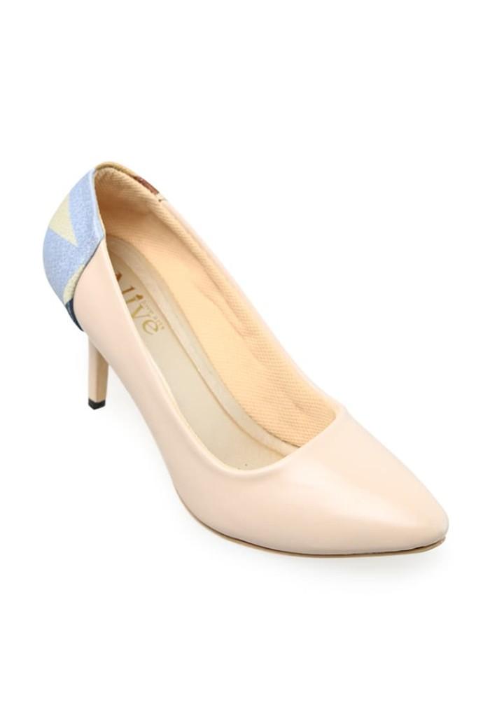 AliveLoveArts Davinci Cream Heels Fashion Sepatu Wanita Termurah