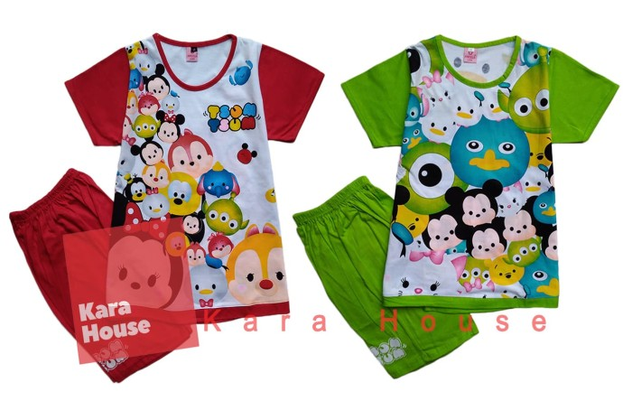 Baju Kaos Atasan T-Shirt Setelan Anak Murah Tsum Tsum TS112017 - Size 6, Merah