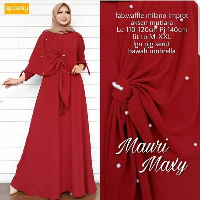 Baju Muslim Dress Wanita/ MAURI MAXY AQ001/ Dress TerMurah - Dusty