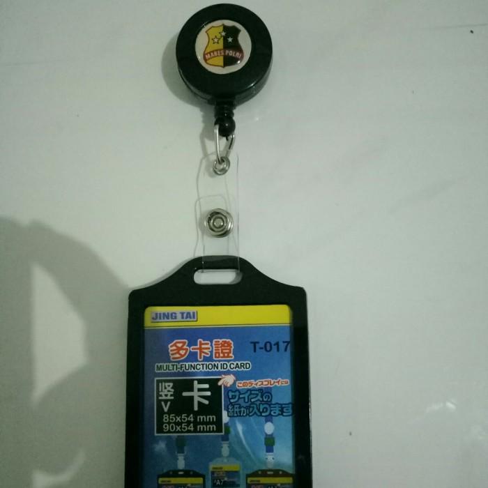 Name Tag Id Card Case Karet Hitam plus yoyo dan Logo Mabes Polri