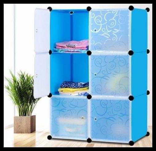 PROMO Lemari pakaian rak serbaguna susun plastik lemari baju 6 pintu -