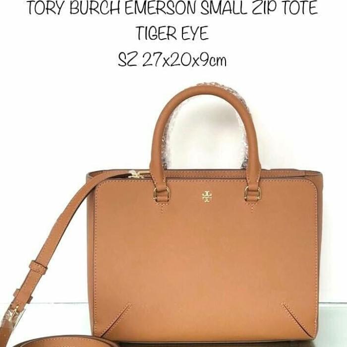 5d5c0fdbd5b9 Tas Tory Burch TB Emerson small zip tote sz 27x20x9cm (4 pilihan wrn) - Cokelat  Muda