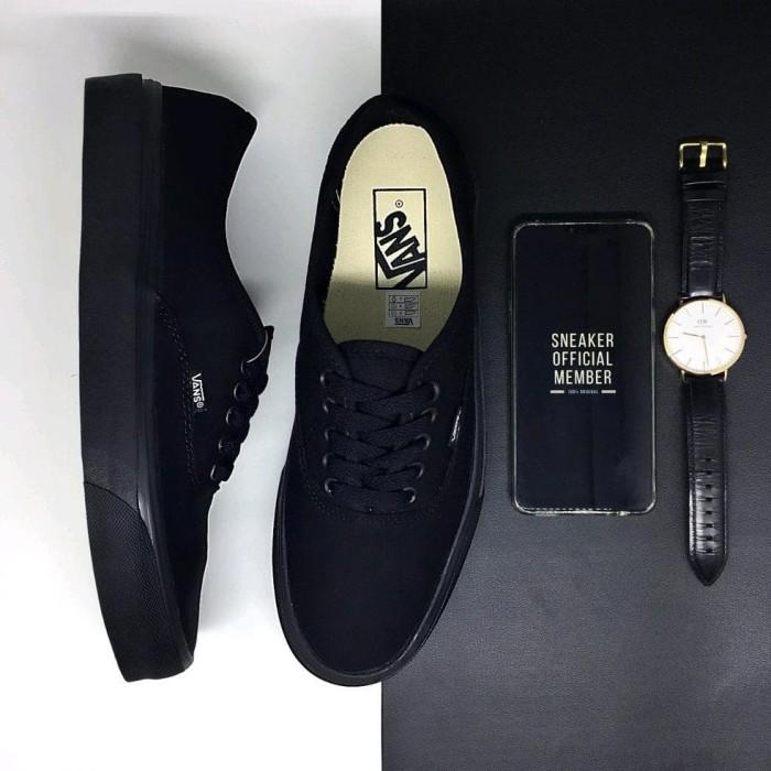 16e00d38c665a9 Paling Terlaku Sepatu Vans Authentic Classic Full All Black waffle DT