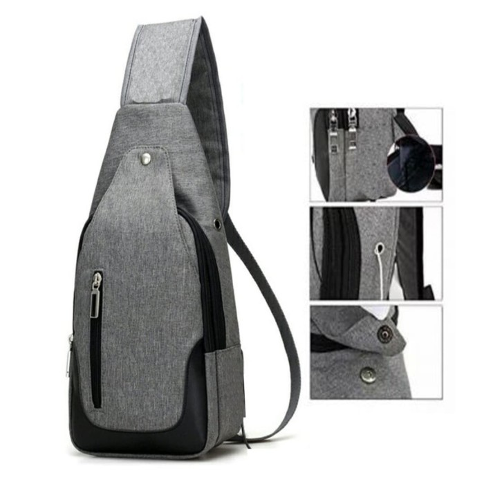 Tas Pria-Tas Slempang Import Sling bag-Kancing Magnet Port Earphone -