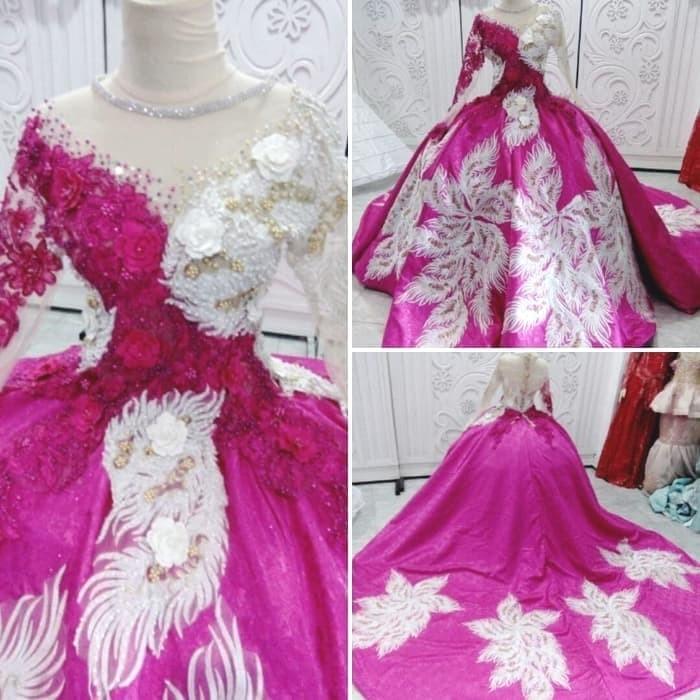 Jual Gaun Pengantin Pink Fanta Ekor Jaguar Kota Surabaya Dj