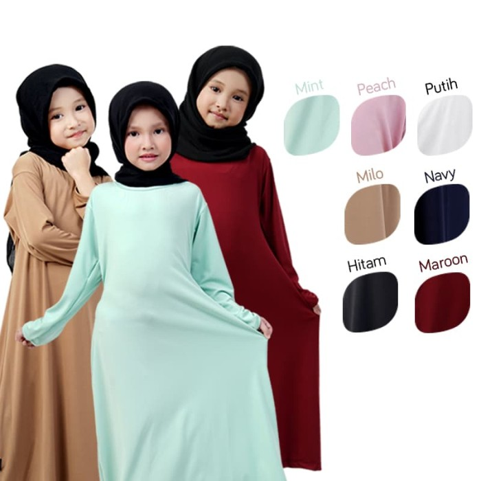 Jual BAJUYULI - Baju Muslim Gamis Anak Perempuan Murah Polos Jersey ... 0a7f39834e