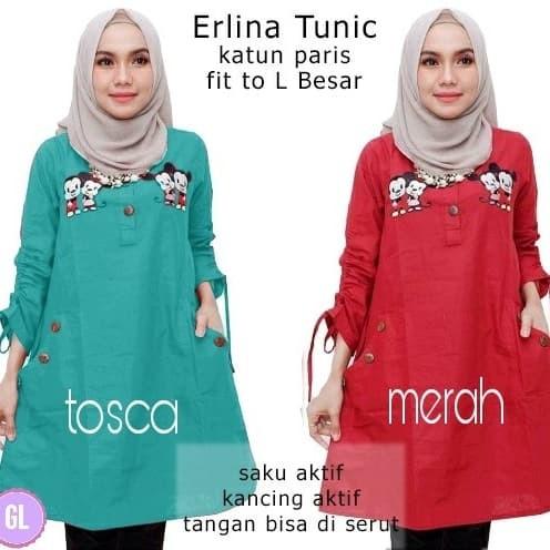 Atasan Wanita Muslim - Baju Tunik Blouse Erlina Tunic - Dzikri ... 1f75d3c00d