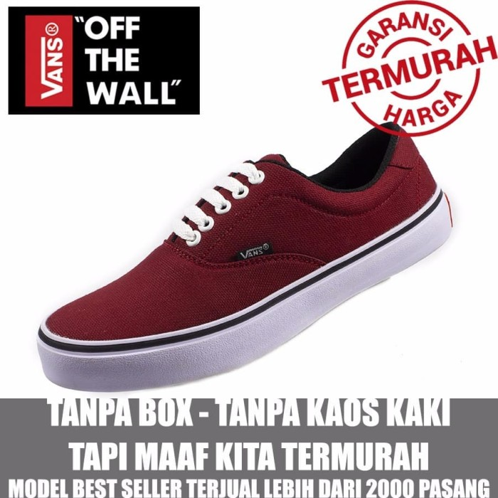 SHOES SNEAKERS COWOK VANS ERA AUTHENTIC MAROON CASUAL KETS SEKOLAH T 3c567157493e
