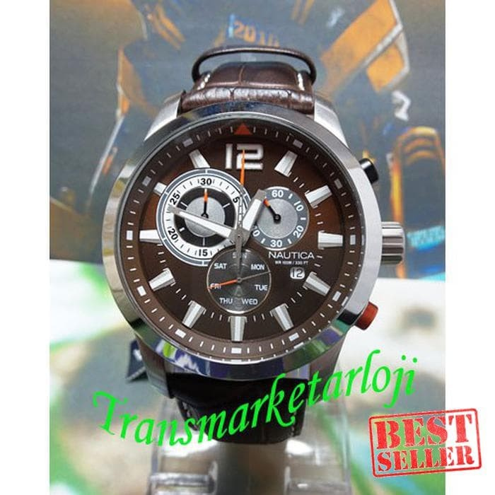 Jual Jam Tangan Pria Nautica A15548G Silver Brown Original Garansi ... 47136fd652