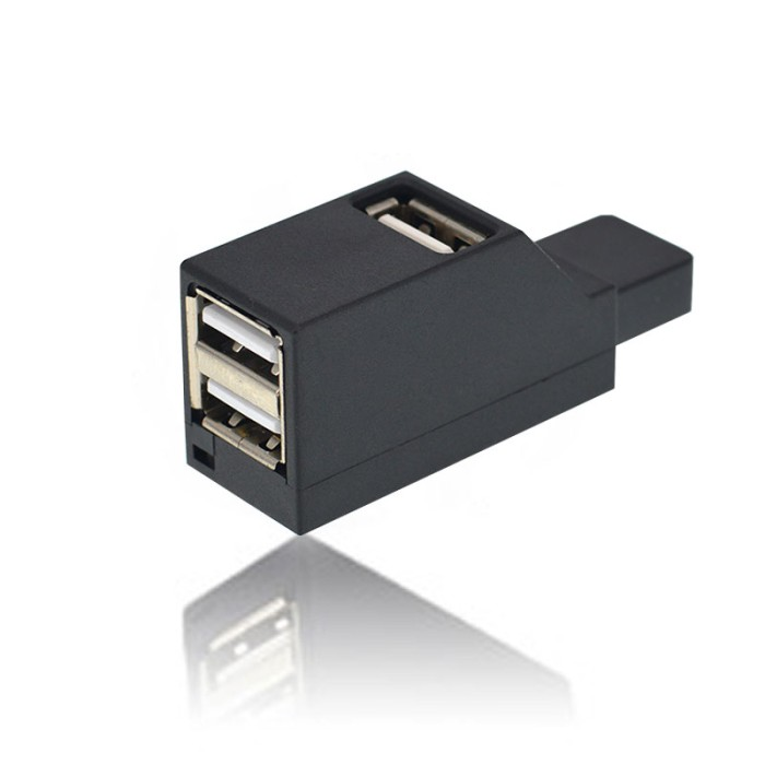 Mini USB 2.0 Hub 3 Port - Black
