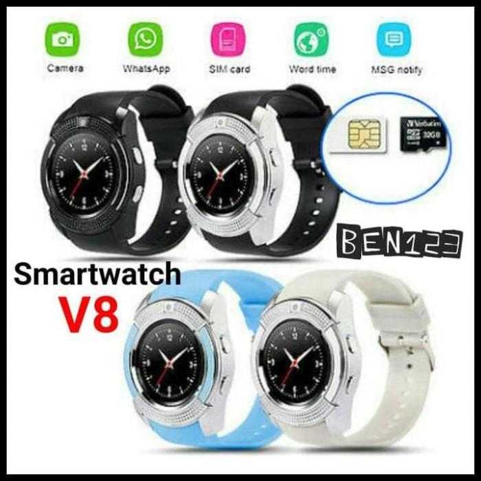 TERBATAS Smartwatch V8 support sim card dan memory card + camera