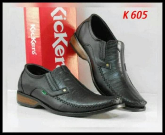 TERMURAH Sepatu Casual Pantofel kerja Kickers Pria kulit Asli - Hitam,