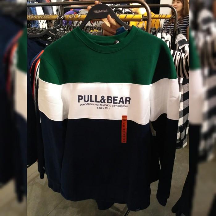 PULL&BEAR LOGO COLOR BLOCK SWEATSHIRT GREEN - Hijau Tua, XS