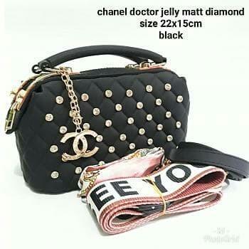 71c79bfb378 Tas Wanita Tas Selempang IMPORT Chanel docter jelly matt diamond Black