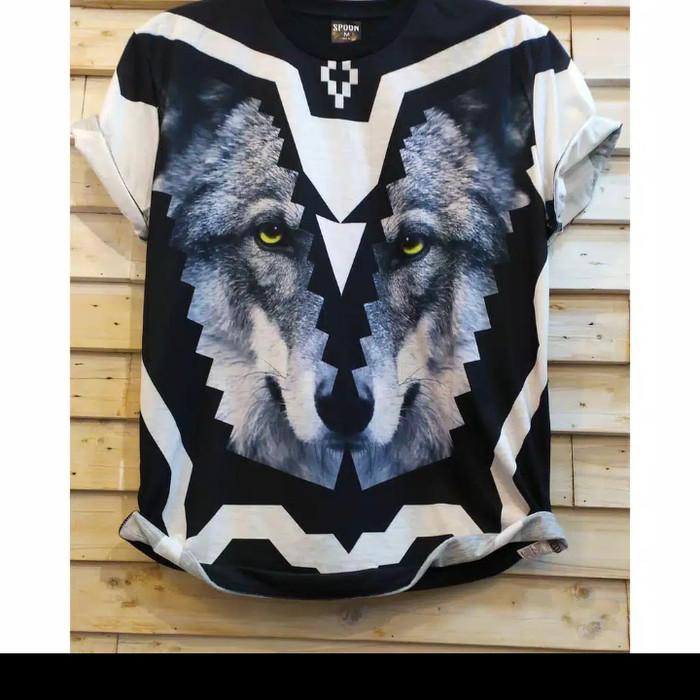 Kaos 3D Full Print Serigala Baju Distro Artis Tshirt Gaul Pria Cowok