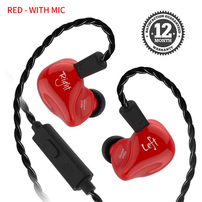 Foto Produk Knowledge Zenith KZ ZS4 Dual Driver Earphone with mic - Merah dari Knowledge Zenith Store