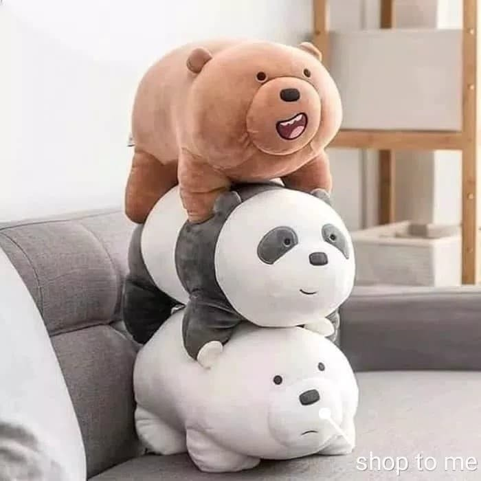 Boneka We Bare Bears Standing Position Miniso Grizzly Panda Ice Bear