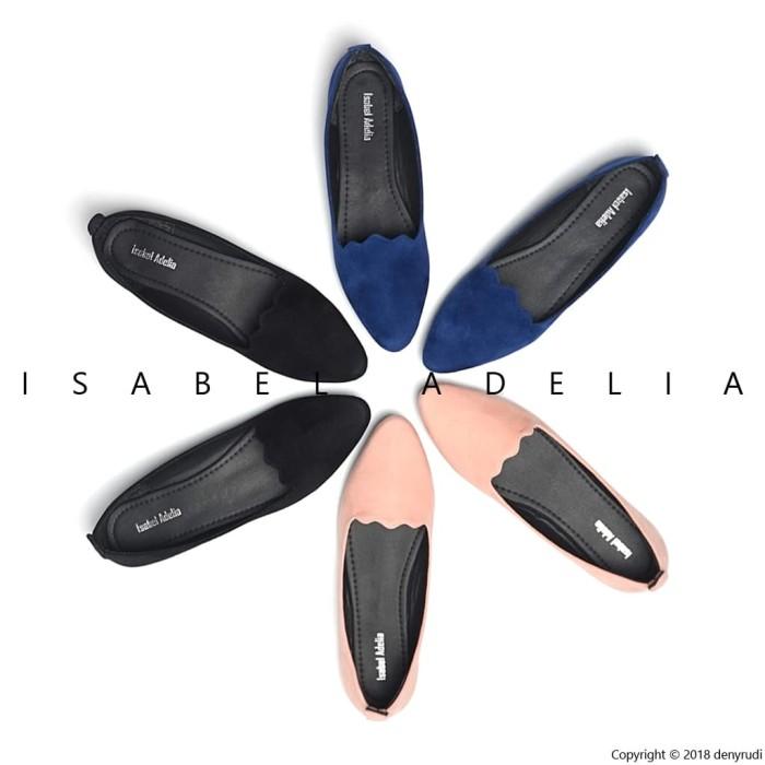 Isabel wina sepatu balet casual wanita flat shoes hitam biru peach - hitam 40