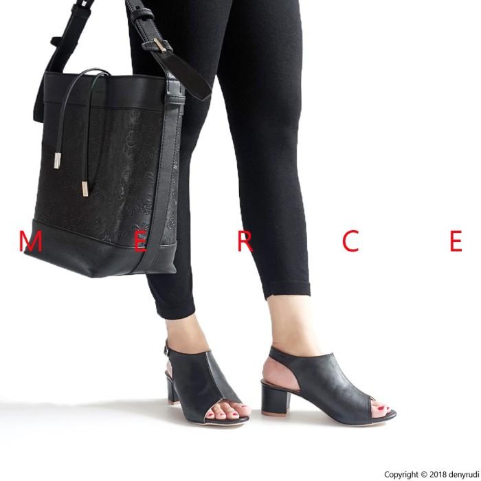 sepatu wanita Merce DAWN Heels Wanita Hak Tahu Hitam Coklat