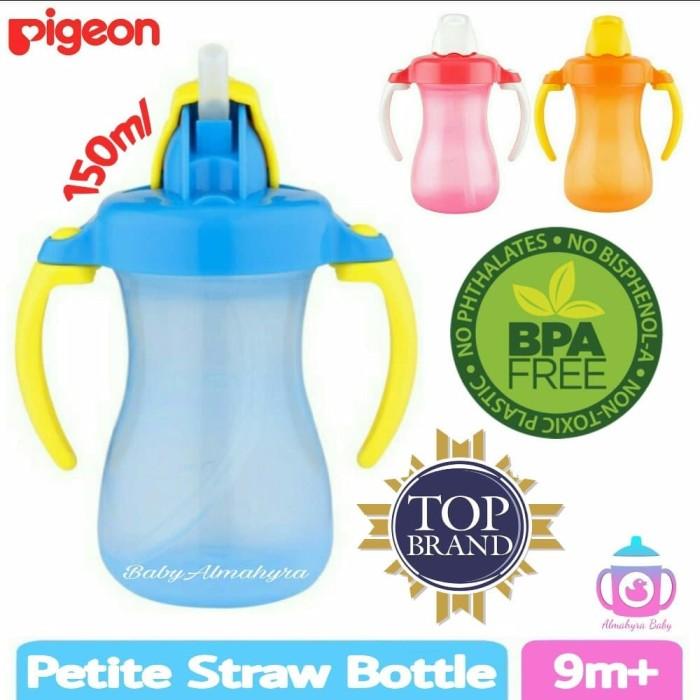 BIRU Pigeon Petite Straw Bottle 9Month Botol Minum Anak Bayi Murah