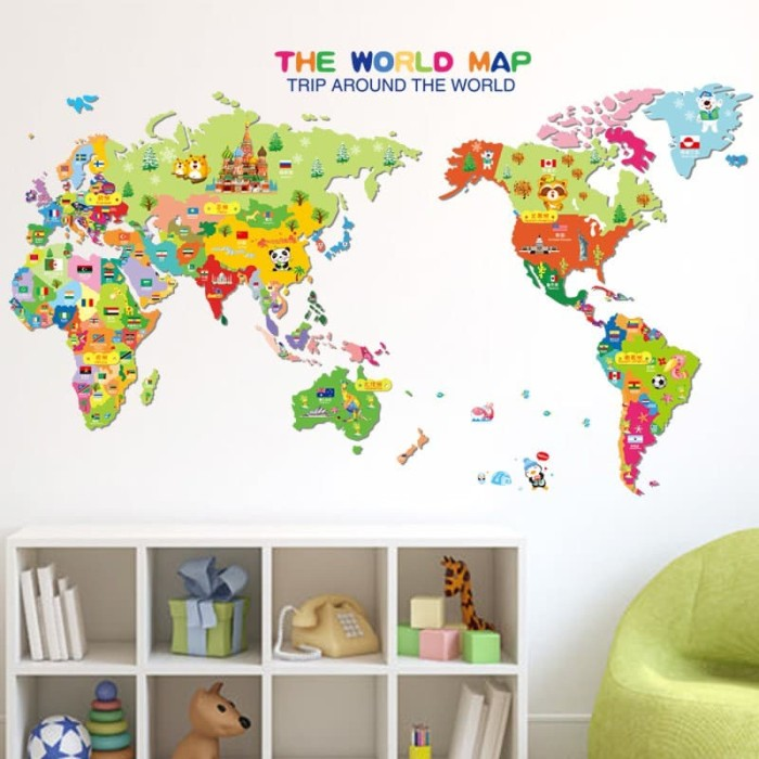 jual wall sticker peta dunia the world map globe kids anak study