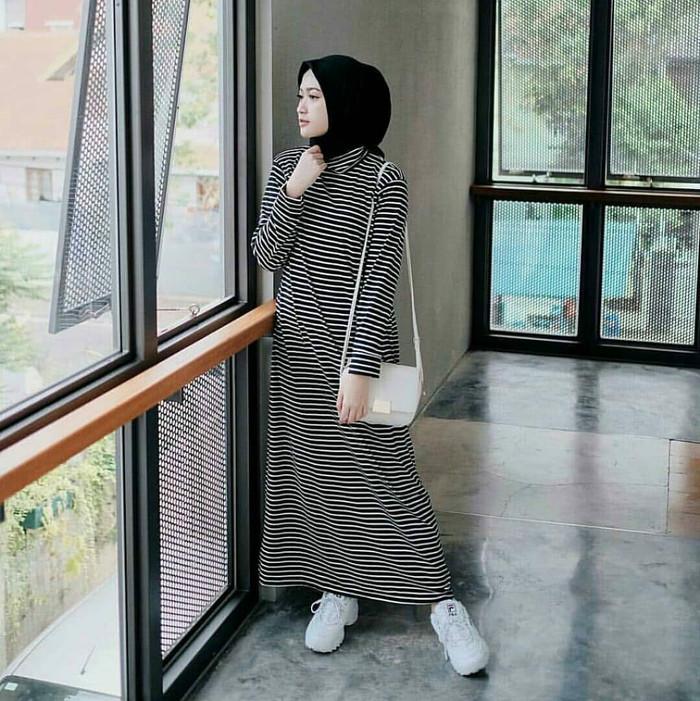 Gamis modern STRIPI Gamis Maxi Spandex hijab modern