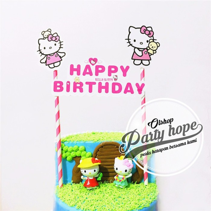 Topper Cake hello kitty Hiasan Kue Ultah hello kitty Topper Cake