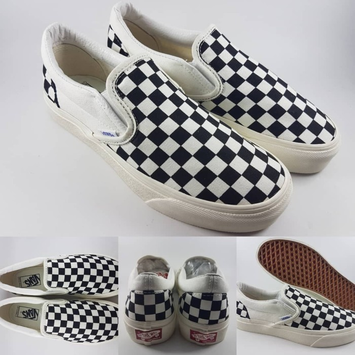 28171960b2 Jual Promo Sepatu Vans Slip On OG LX Checkerboard Black White ...