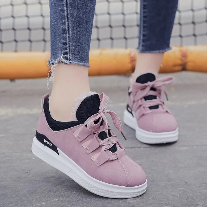 Jual Sepatu Sneakers Wanita Model Korea Casual Flat Tebal Warna