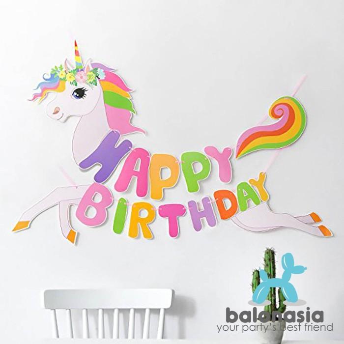 Foto Produk Banner Balonasia Banner Unicorn Shape Lucu Ulang Tahun Anak dari Balonasia