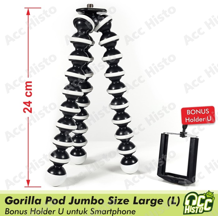 harga Tripod flexible gorilla/ gurita pod jumbo/ large + holder u Tokopedia.com