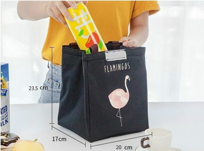 E2K1 lunch bag tas bekal cooler bag FLAMINGO bonus 2 jelly ice cooler - PINK 98ec85c5e4
