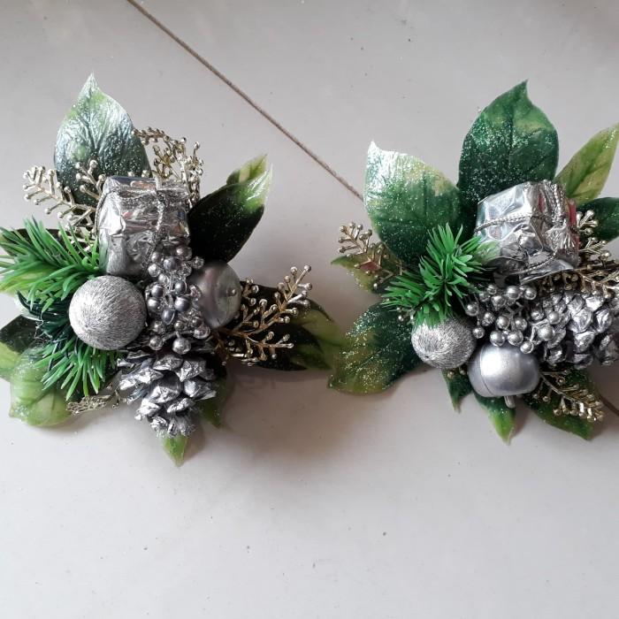harga Hiasan natal ornamen bunga pick tema silver perak Tokopedia.com