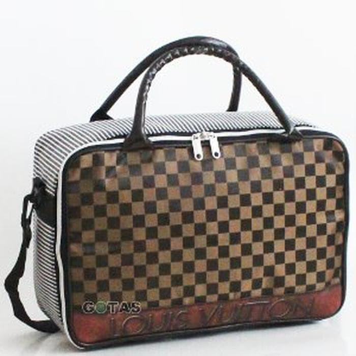 Jual Travel Bag Koper Tas Kanvas Karakter LV Coklat Besar Se Diskon