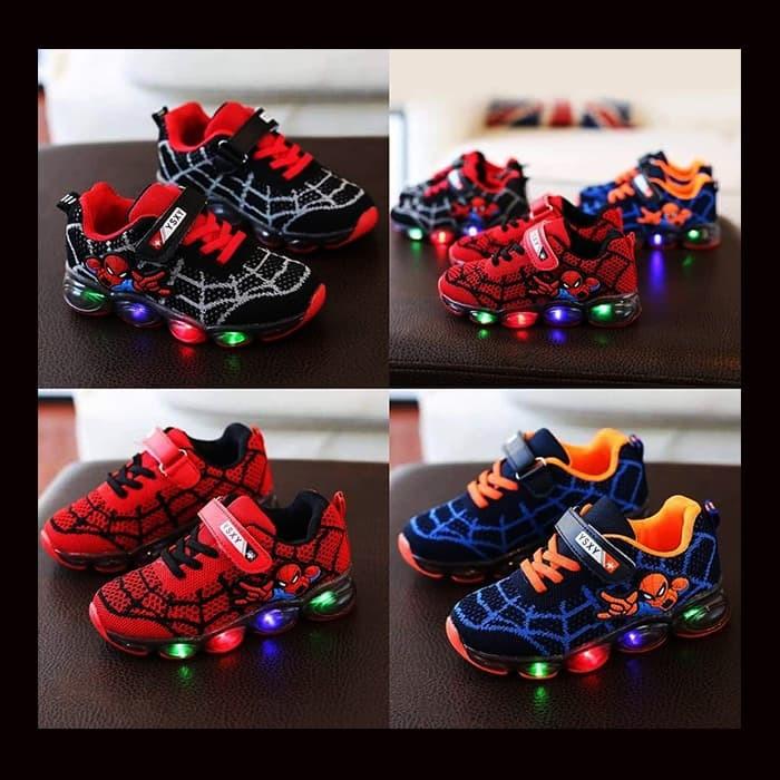 Jual Murah Sepatu Anak Laki-Laki Lampu Led New Spiderman Kid (ZH ... 97829f64f8