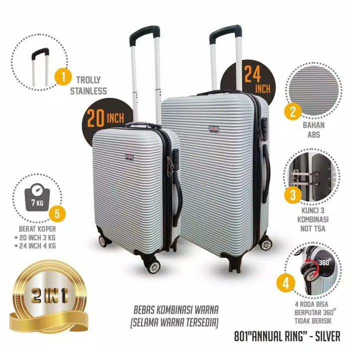 Tas Travel Polo Love 20 dan 24 Inch Koper Fiber Ringan