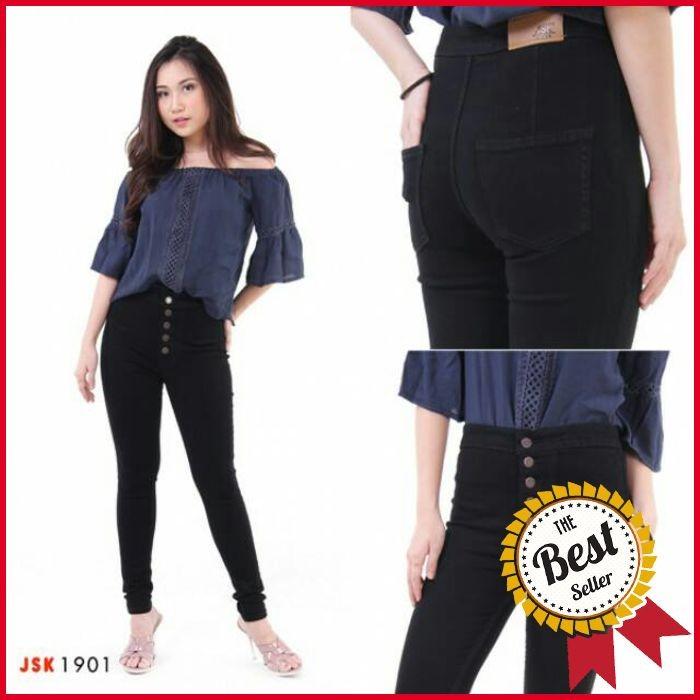 3 Warna Celana Panjang highwaist Kancing 5 skinny Soft Jeans Wanita