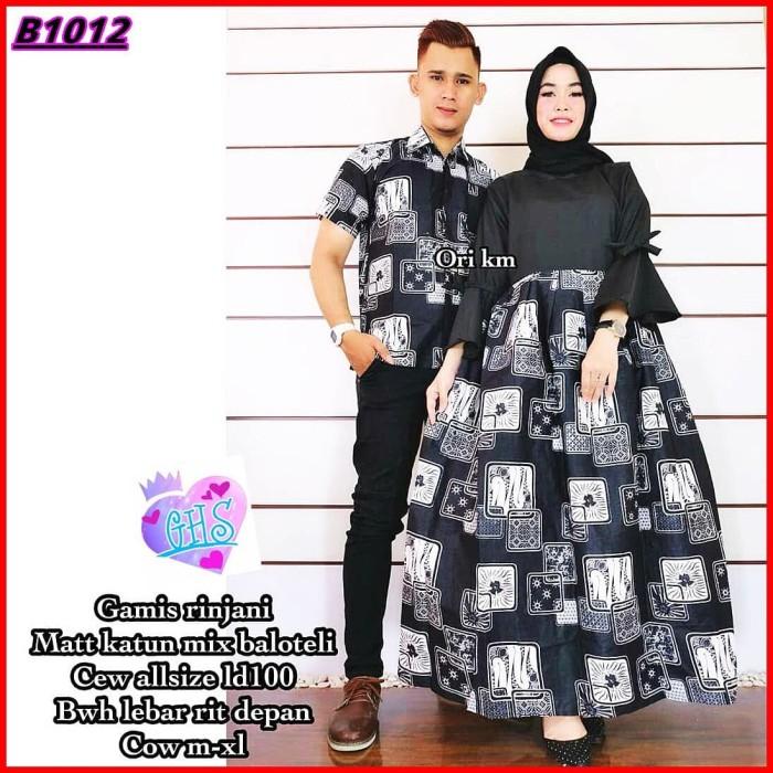 Jual Baju Batik Couple Gamis Rinjani Bahan Balotelli Premium Warna Hitam Kab Sidoarjo Griya Hjab Syari Tokopedia