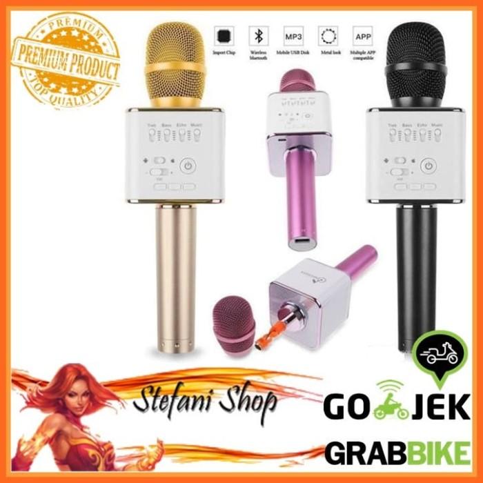 Mic Karaoke KTV Q9 Bluetooth Wireless Microphone With Speaker Karaoke - Merah Muda