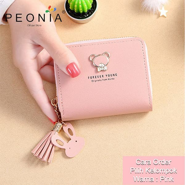 Foto Produk Peonia - Dompet Wanita Lipat Import - Wallet Korea - Cutie Bear SH - Pink dari Peonia Official Store