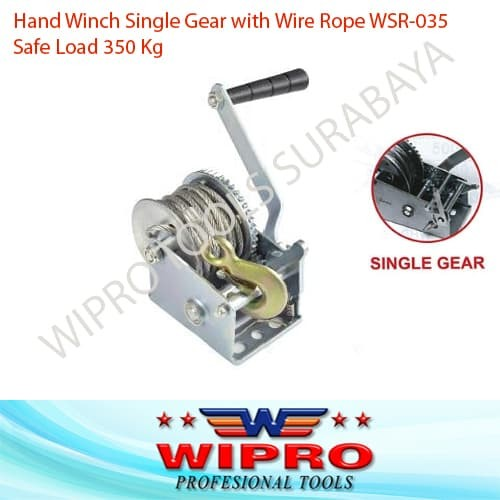 harga Hand winch single gear with wire rope wipro wsr 035 / wsr035 Tokopedia.com
