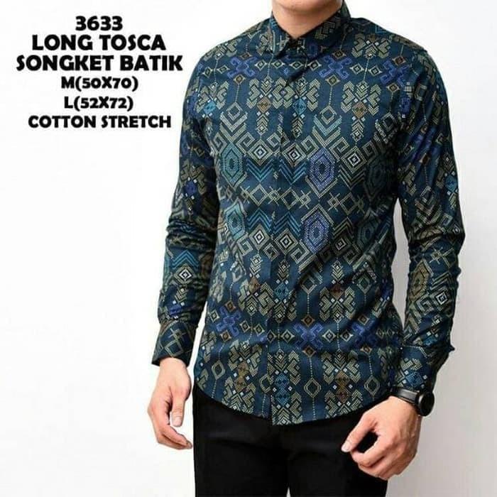 Foto Produk Baju Kemeja Batik Songket Lengan Panjang Pria Tosca Slimfit dari Virtual Custom Clothing