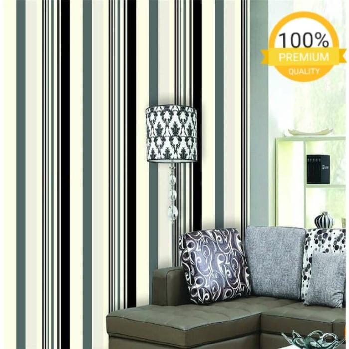 Jual wallpaper dinding murah garis hijau hitam putih minimalis