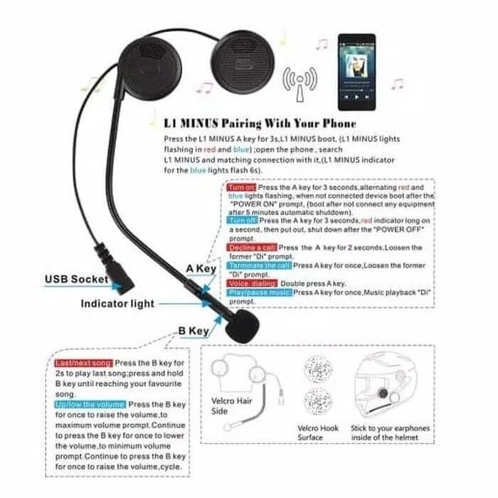 harga Headset bluetooth helm intercom freedconn l1m wireless headphone Tokopedia.com
