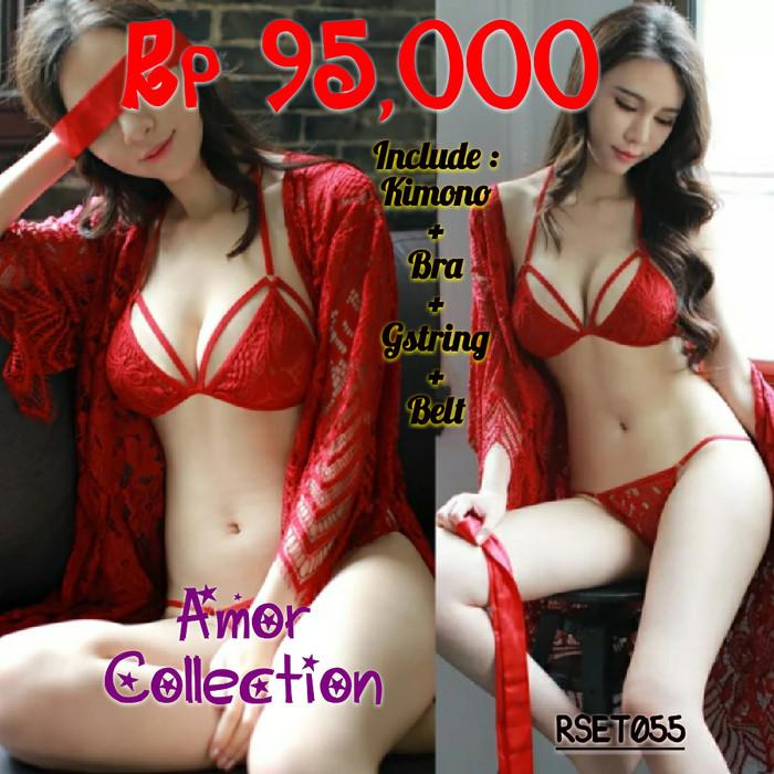 Lingerie seksi kimono set luxury merah (RSET055) By AMOR COLLECTION 5140aae860