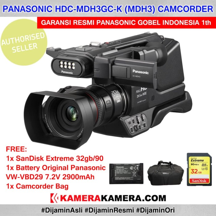 harga Panasonic mdh3 camcorder resmi + battery + sd extreme 32gb + bag Tokopedia.com